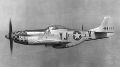 "North American P-51D-10-NA Mustang Serial 44-14593 (VJ-V) ""Kitten"", flown by Lt. John Gaglan of the 351st Fighter Squadron."