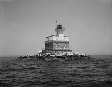 Penfield Reef Lighthouse is located in Long Island Sound off the coast of Fairfield Beach