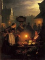 A Moonlit Vegetable Market by Petrus van Schendel, 19th century