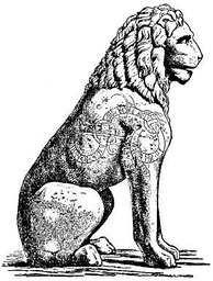 Piraeus Lion drawing of curved lindworm. The runes on the lion tell of Swedish warriors, most likely Varangians, mercenaries in the service of the Byzantine (Eastern Roman) Emperor.