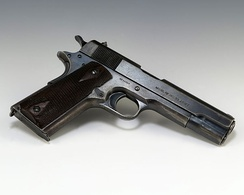 Fromme's pistol, used in the September 5, 1975, Ford assassination attempt, on display at the Ford Presidential Museum