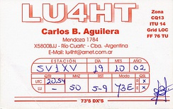 QSL card confirming an intercontinental contact between Argentina and Greece on 50 MHz