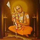 Ramanujacharya depicted with Vaishnava Tilaka and Vishnu statue.