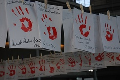 Red Hand Day, the International Day Against Use of Child Soldiers, is often marked by displaying red handprints.
