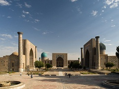 The Registan is the ensemble of three madrasas, in Samarkand, modern day Uzbekistan