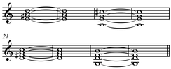 Rhythm changes bridge (B section of an AABA form) in the key of C. Play (help·info)