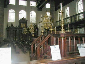 Interior of the Amsterdam Esnoga, the synagogue for the Portuguese-Israelite (Sephardic) community. It was inaugurated 2 August 1675, and is still in use by the Jewish community.