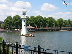 The lake at Roath Park, including the lighthouse erected as a memorial to Captain Scott