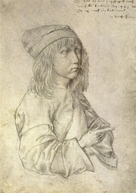 Self-portrait silverpoint drawing by the thirteen-year-old Dürer, 1484. Albertina, Vienna.