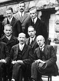 1927 Solvay Conference in Brussels, October 1927. Bohr is on the right in the middle row, next to Max Born.
