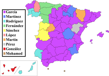 Surname distribution: the most common surnames in Spain, by province of residence.