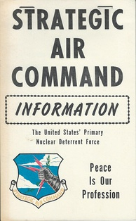 "Cover of a 1975 SAC information booklet emphasizing its ""Peace Is Our Profession"" motto"