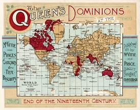 "Map of the British Empire under Queen Victoria at the end of the nineteenth century. ""Dominions"" refers to all territories belonging to the Crown."