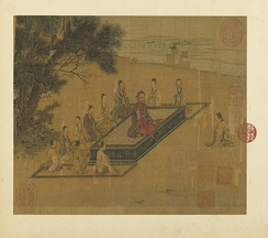 Zengzi (right) kneeling before Confucius (center), as depicted in a painting from the Illustrations of the Classic of Filial Piety, Song dynasty