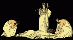 The assassination of Agamemnon, an illustration from Stories from the Greek Tragedians by Alfred Church, 1897.