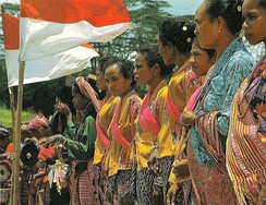 Timorese women with the Indonesian national flag