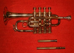 Piccolo trumpet in B♭, with swappable leadpipes to tune the instrument to B♭ (shorter) or A (longer)