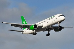 Boeing 757 aircraft branded with Turkmenistan Airlines