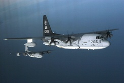 Two VMGR-352 KC-130Js during a training exercise, February 2007.