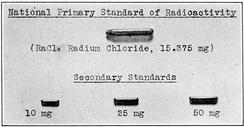 Glass tube of radium chloride kept by the US Bureau of Standards that served as the primary standard of radioactivity for the United States in 1927.