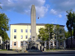"Ukmergė's monument of independence, ""Lituania Restituta"", restored in 1989."