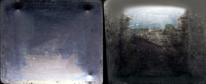View from the Window at Le Gras (1826 or 1827), by Nicéphore Niépce, the earliest known surviving photograph of a real-world scene, made with a camera obscura. Original (left) & colorized reoriented enhancement (right).