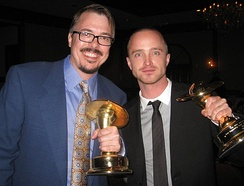 Paul with Breaking Bad creator Vince Gilligan at the 36th Saturn Awards on June 24, 2010