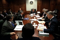 President George W. Bush meeting with his war council in the Situation Room on March 21, 2003