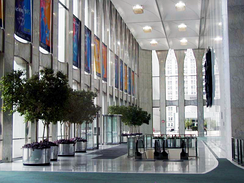 Lobby of Tower 1, looking south along the east side of the building, August 19, 2000