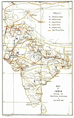Travel route of Xuanzang in India