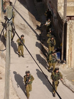 Israeli soldiers in Awarta, West Bank in 2011