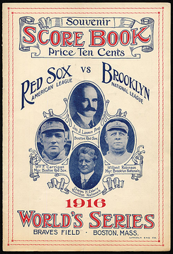 A scorebook from the 1916 World Series, depicting Red Sox owner Joseph Lannin, Red Sox manager Bill Carrigan, Dodgers owner Charles Ebbets, and Manager Wilbert Robinson