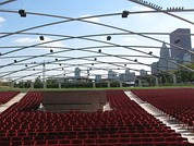 At Jay Pritzker Pavilion, a LARES system is combined with a zoned sound reinforcement system, both suspended on an overhead steel trellis, to synthesize an indoor acoustic environment outdoors.