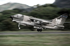 An A-7D of the 355 TFS/354 TFW takes off from Howard AFB in the Panama Canal Zone during a 1977 deployment.