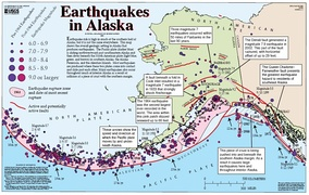 Map showing the tectonics and seismicity of Alaska