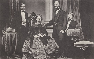 Crown Prince Ludwig of Bavaria (left) with his parents and his younger brother, Prince Otto in 1860