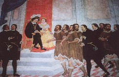 Fernández de Lugo presenting the captured Guanche kings of Tenerife to Ferdinand and Isabella, 1497
