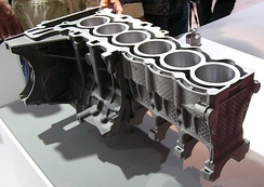 An engine block with aluminium and magnesium die castings