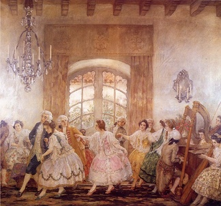 """Baile del Santiago antiguo"" by Pedro Subercaseaux. Chile's colonial high society were made up by landowners and government officials."