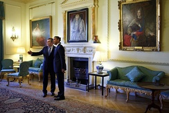 Prime Minister Gordon Brown and US President Barack Obama in the Pillared Room, 2009