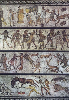 The Zliten mosaic, from a dining room in present-day Libya, depicts a series of arena scenes: from top, musicians playing a Roman tuba, a water pipe organ and two horns; six pairs of gladiators with two referees; four beast fighters; and three convicts condemned to the beasts[400]