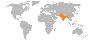 Location of the British Empire (British India and the princely states) in the world