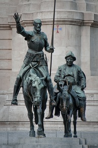 Bronze statues of Don Quixote and Sancho Panza in the Plaza de España in Madrid