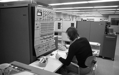 IBM System/360 Model 50 CPU, computer operator's console, and peripherals at Volkswagen