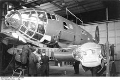 A He 111 in the preliminary stage of wing installation