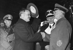 Joachim von Ribbentrop (right) bidding farewell to Vyacheslav Molotov in Berlin on 14 November 1940 after discussing Finland's coming fate