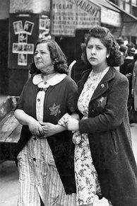 Jewish women wearing yellow badges in occupied Paris, June 1942
