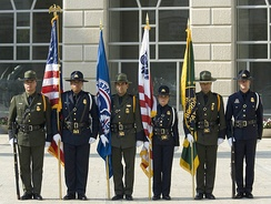 A color guard composed of CBP officers and USBP agents at a Washington, D.C. ceremony in May 2007.