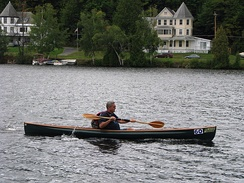 A carbon-fiber and Kevlar canoe (Placid Boatworks Rapidfire at the Adirondack Canoe Classic)