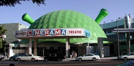 The Cinerama Dome, decorated for Shrek 2
